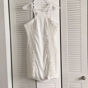Strappy White Lace Mini Dress from Aryn K